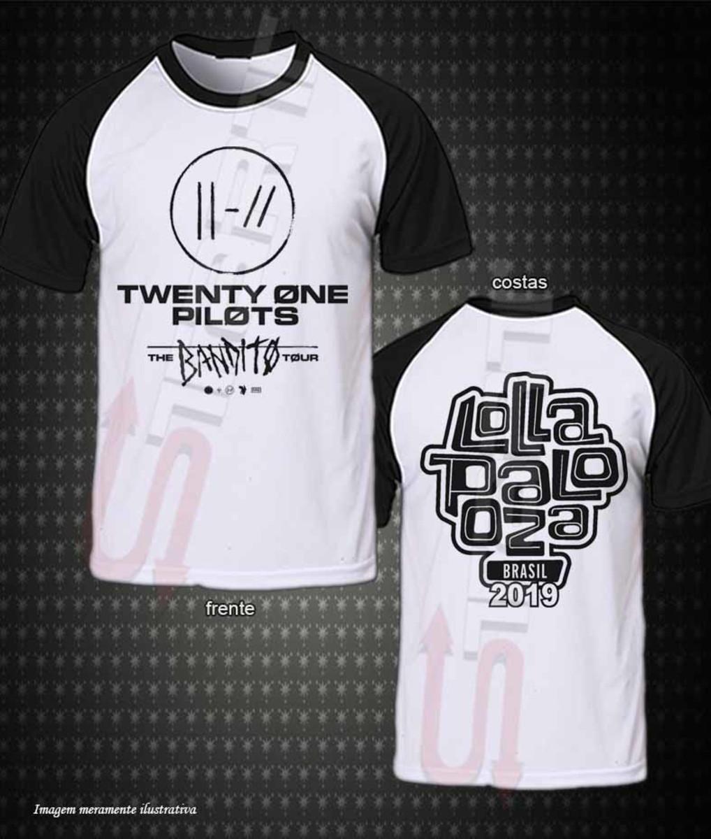 Camiseta Raglan Twenty One Pilots (lollapalooza 2019) no Elo7 ... dee1add2bcf