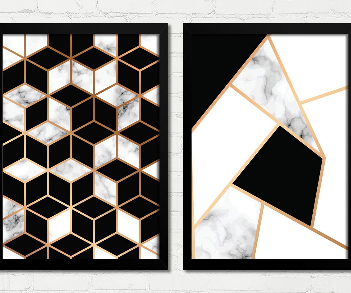 6f935a508 Quadros Abstrato Geométrico Preto Branco Dourado Decoração no Elo7 ...