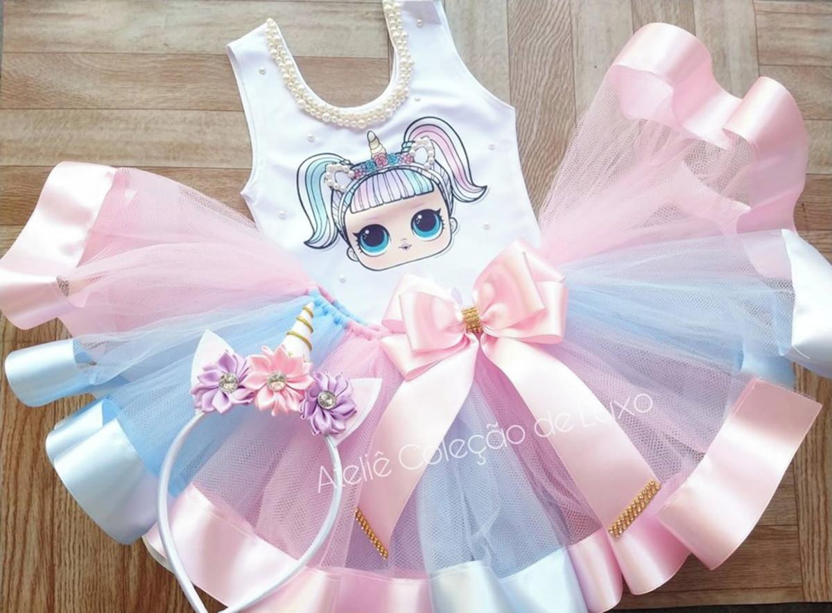 cd3b70c25a1afc Roupa de aniversário da Lol Unicornio com saia rosa e azul