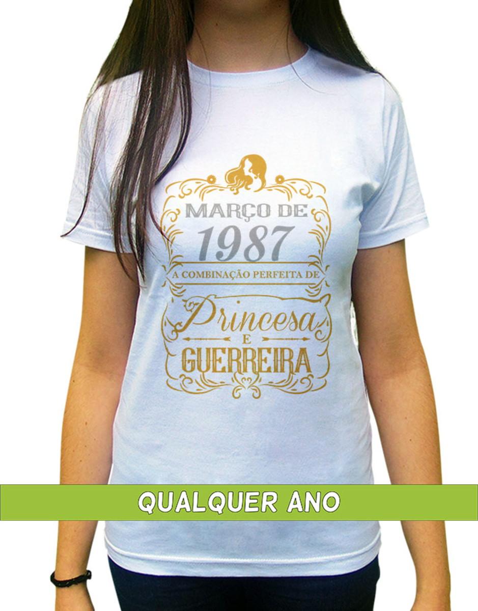 3bf57a8966 Camiseta Princesa Guerreira Março Personalizada com Ano no Elo7 ...