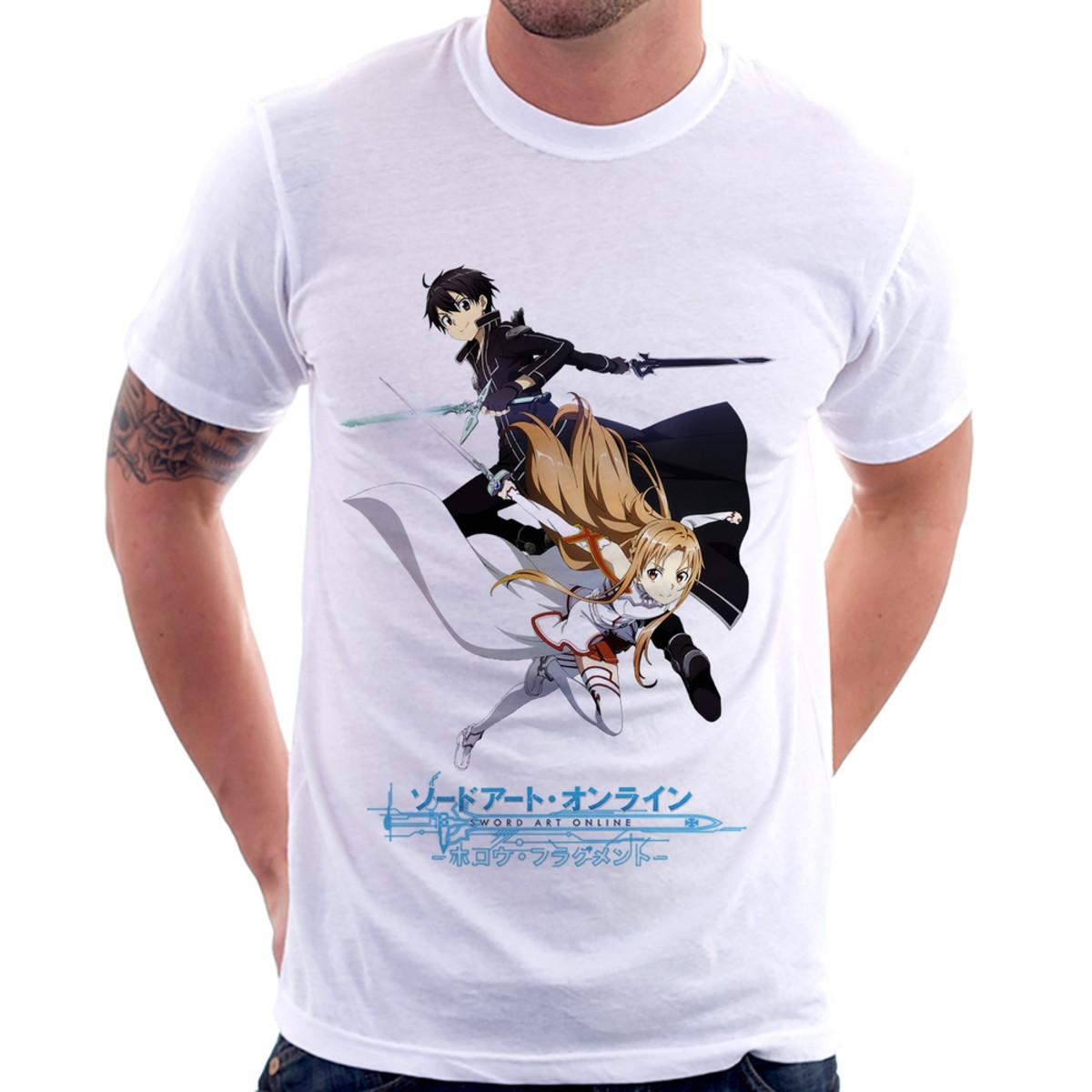 2649399cb Camiseta Sword Art Online Kirito e Asuna no Elo7