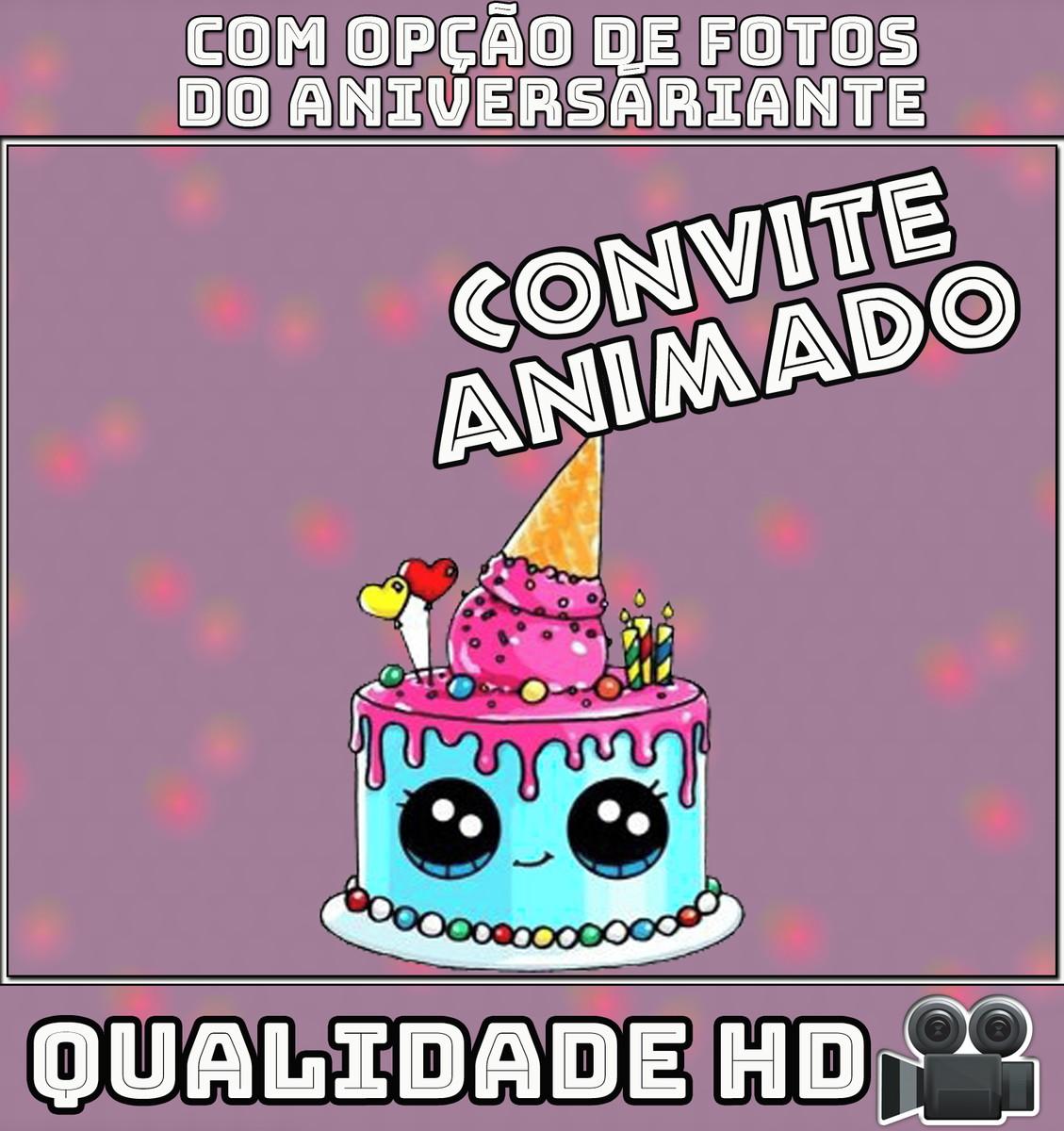 Convite Animado Vídeo Pra Aniversário Kawaii No Elo7 Festa
