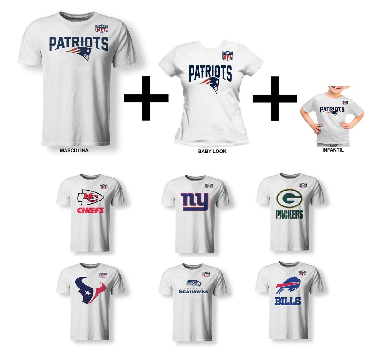 7efd2ea85 Kit 03 Camisetas Família NFL