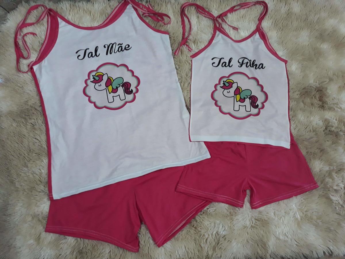 46d8fdcdc Kit 2 Pijamas babydoll Tal mãe Tal filha unicornio no Elo7