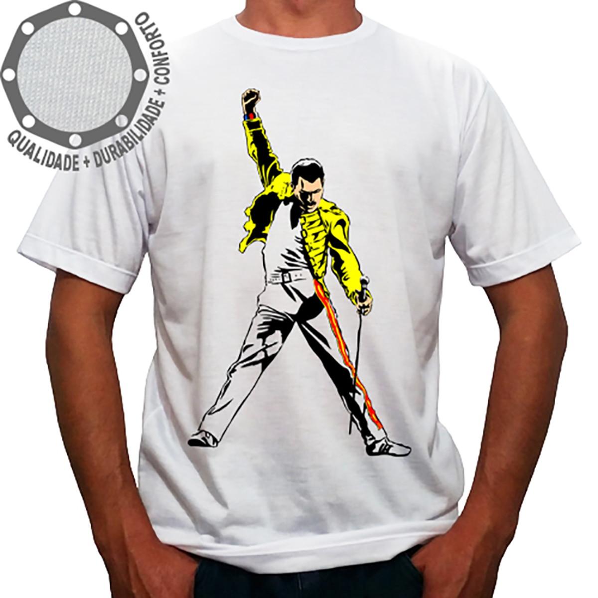 detallado último vendedor caliente venta caliente más nuevo Camiseta Queen Freddie Mercury Dançando Amarelo