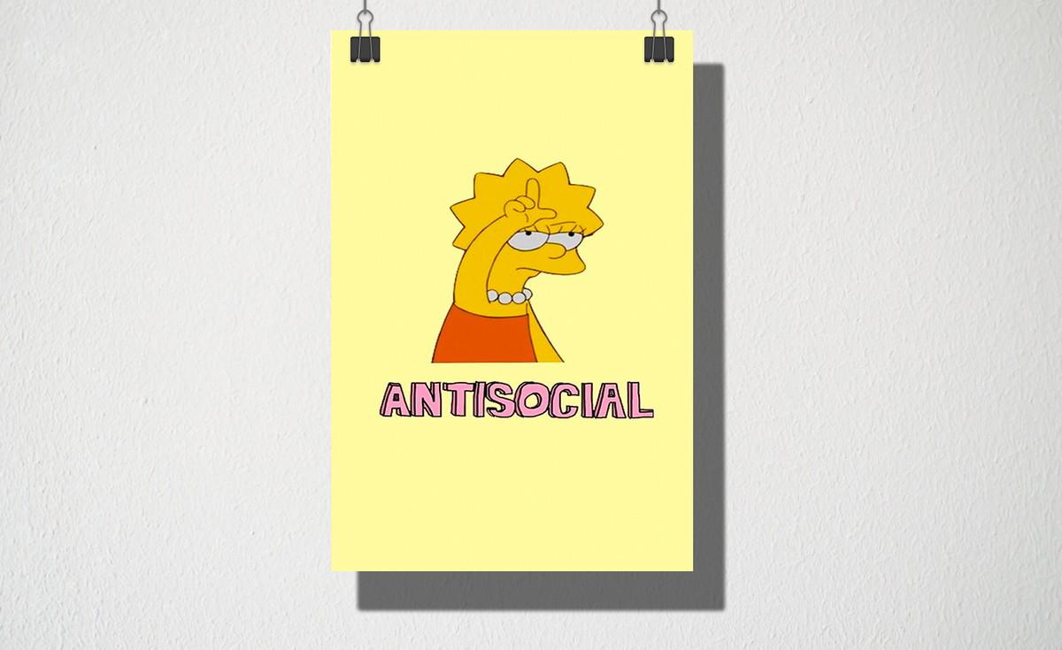Poster A4 Antisocial no Elo7 | Owl Store (E0F1A7)
