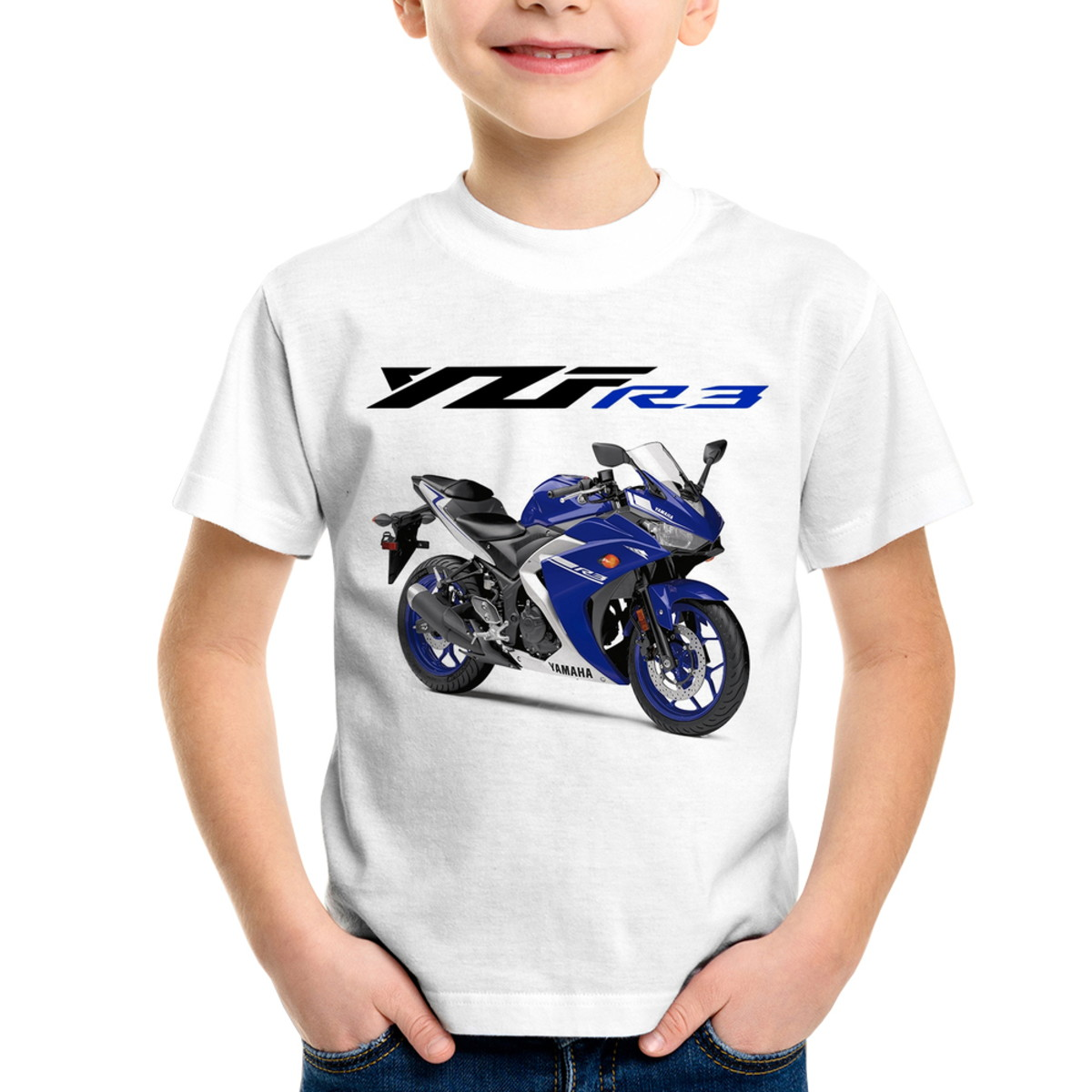 Camiseta Infantil Moto Yamaha YZF R3 Azul 2018