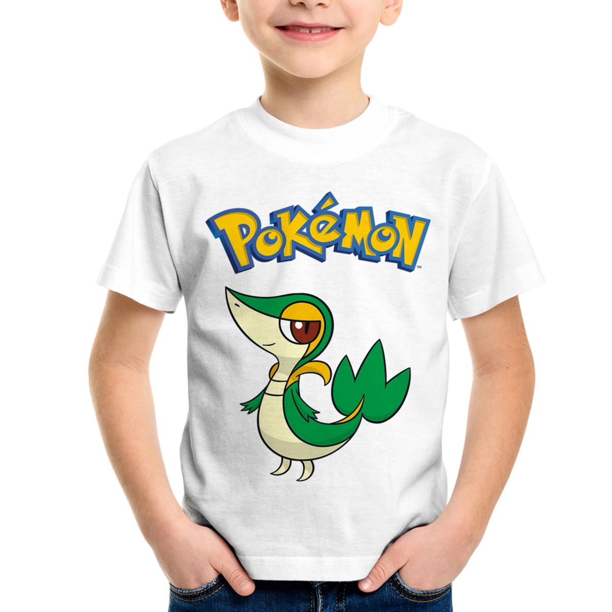 6ebda34af6 Camiseta Infantil Pokémon Snivy no Elo7