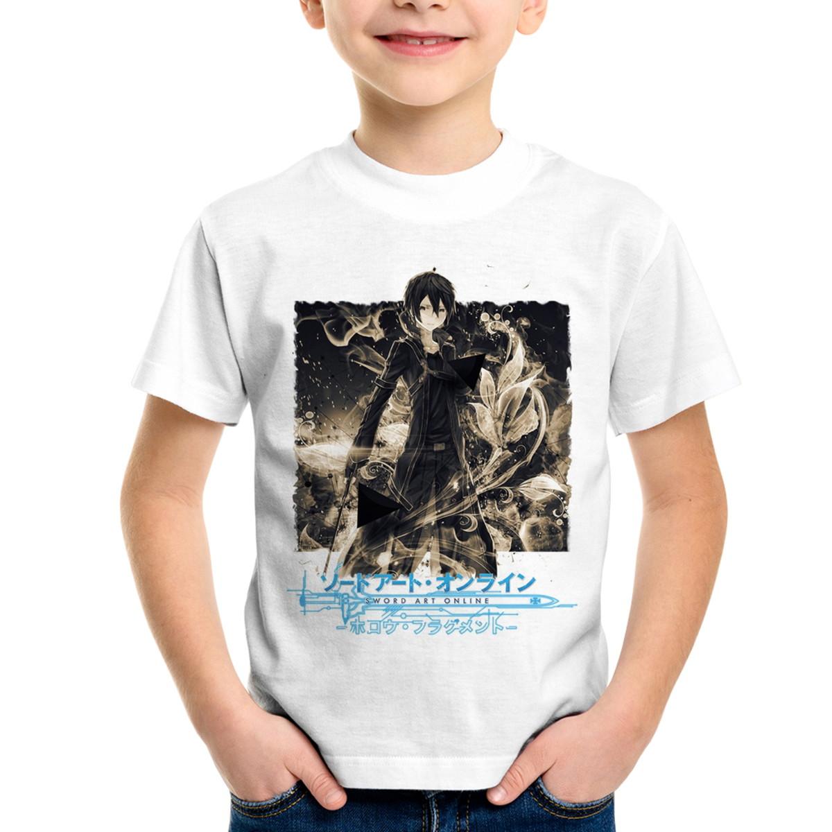 5d7a25af0 Camiseta Infantil Sword Art Online Kirito Kazuto Kirigaya no Elo7 ...
