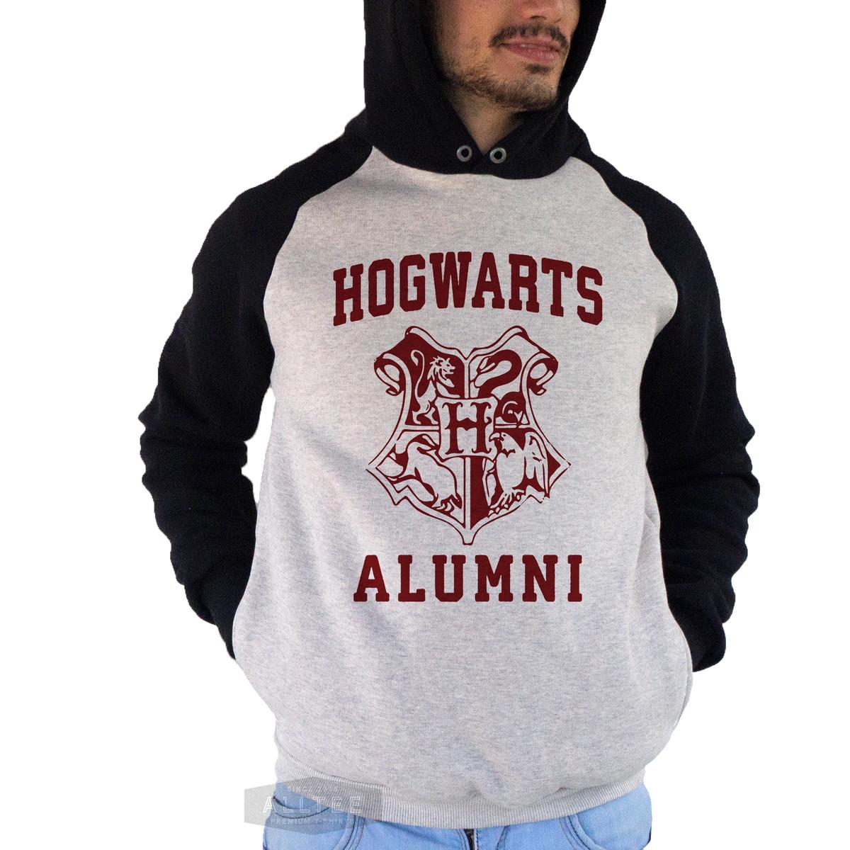 650a146217f1 Moletom Blusa Raglan Hogwarts Alumni Harry Potter Draco Ron no Elo7 ...