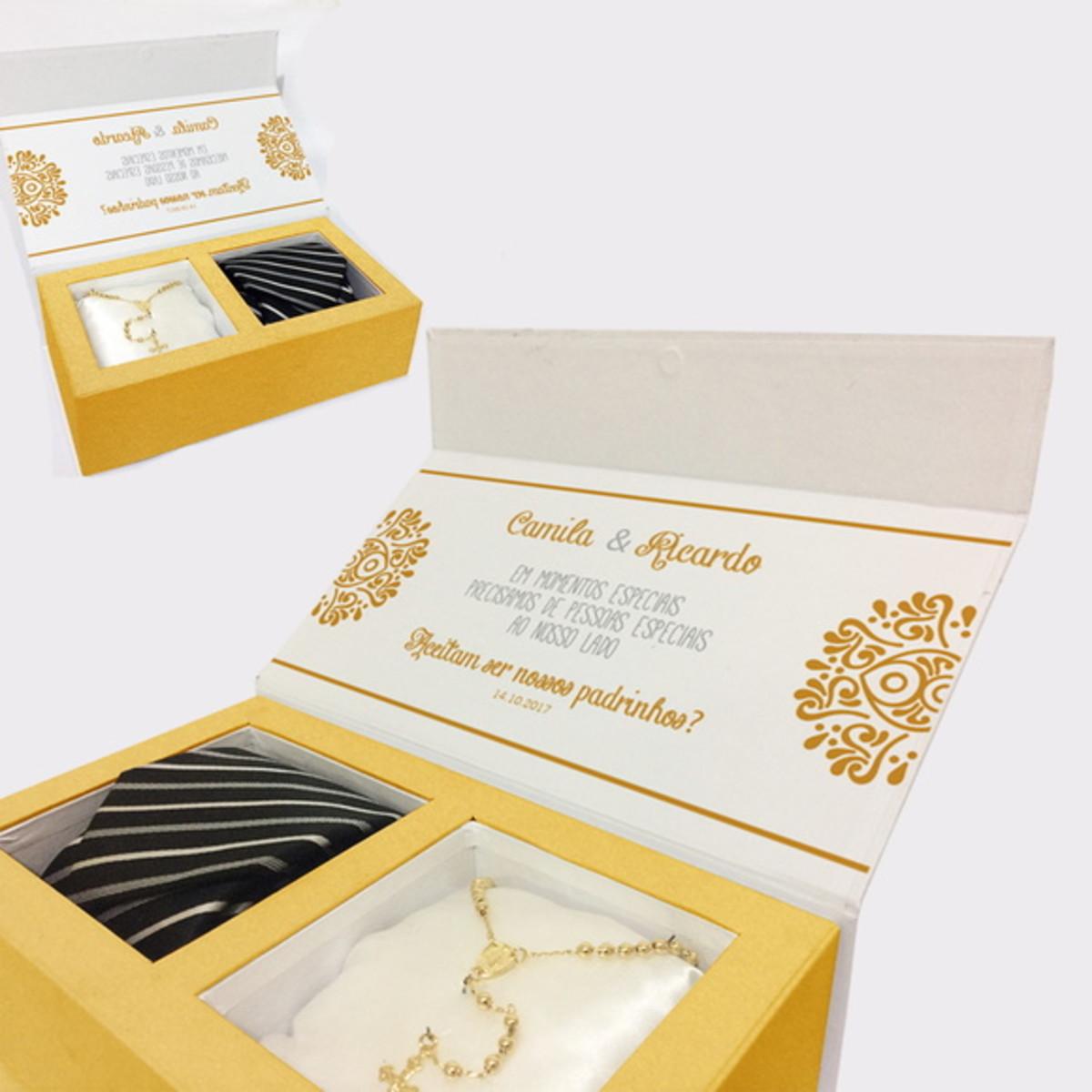 4443a4bd2 Convite para Padrinhos - gravata e colar no Elo7   Presentes ...