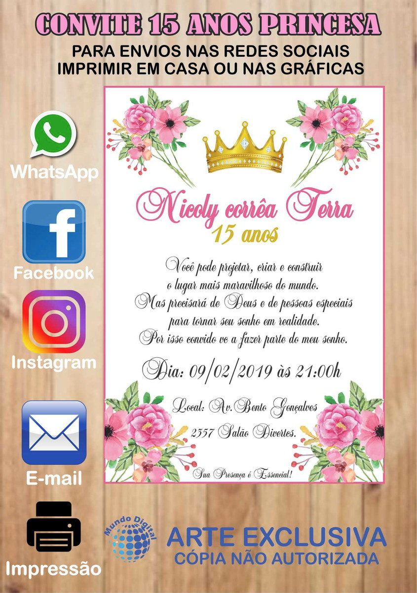 Convite Digital 15 Anos Princesa No Elo7 Mundo Digital Carlos