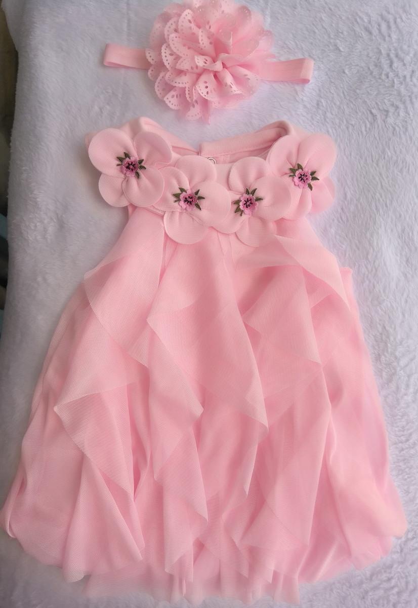67401e8d77 Vestido rosa e faixa no Elo7