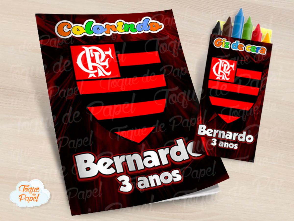 Kit Colorir Com Giz De Cera Flamengo