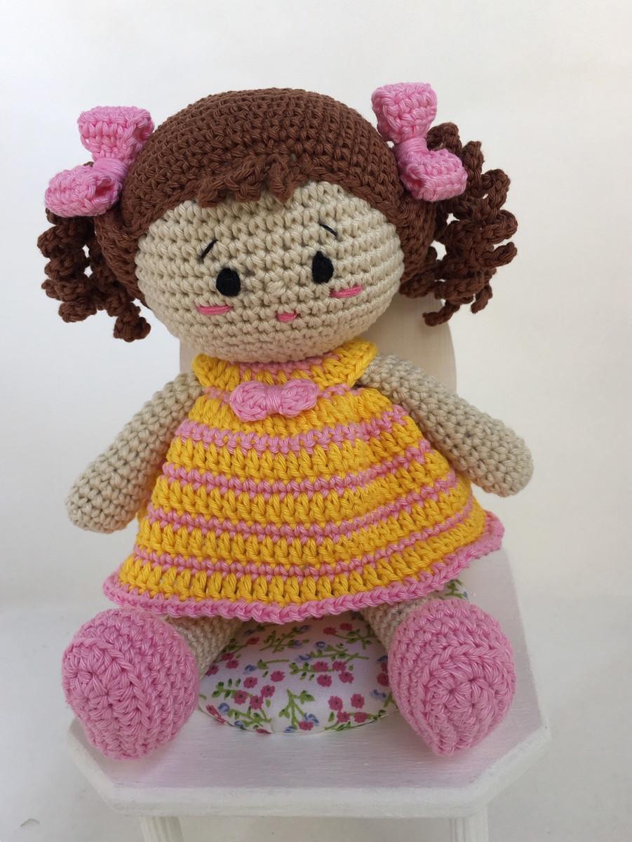 Boneca Duda amigurumi vestido amarelo no Elo7 | Crochetados por ... | 1200x901