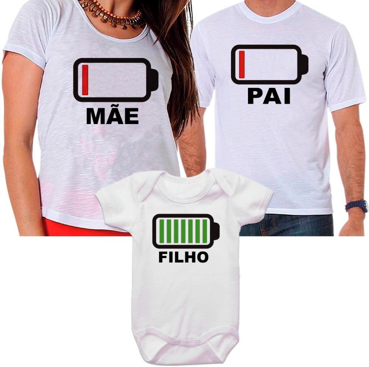 845cbd95c Kit Camisetas e Body Família Bateria Carregada no Elo7