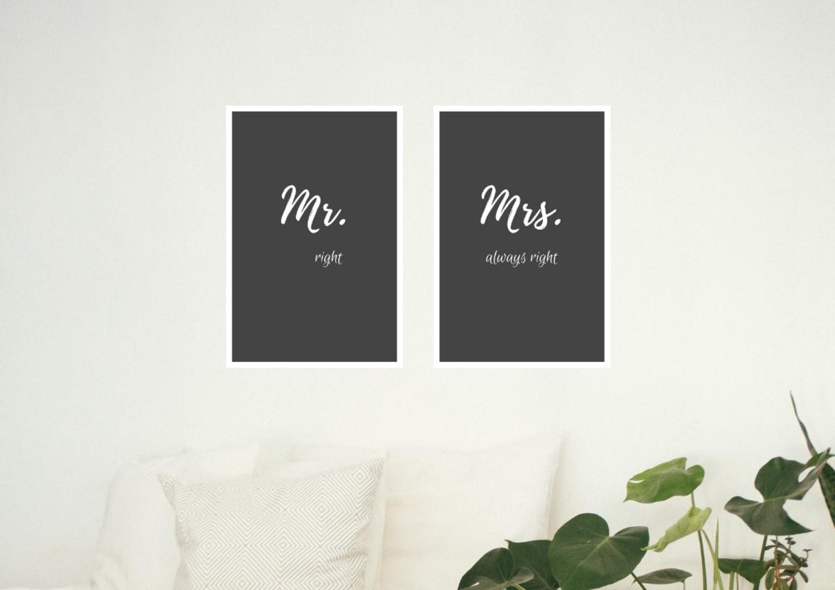 258e68766 Kit de quadros - Mr (right) - Mrs (always right). no Elo7