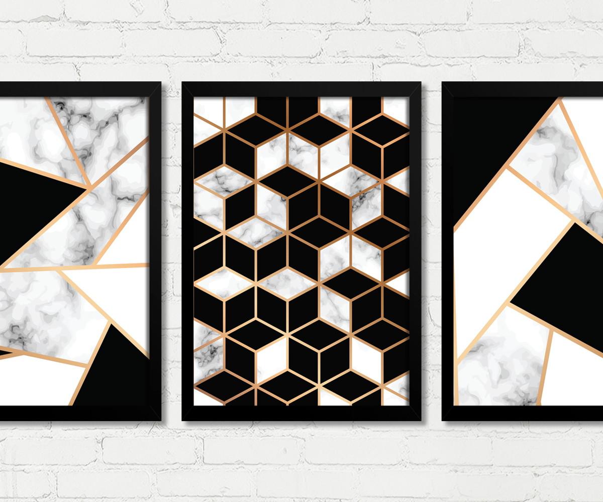 a32815139 Quadros Abstrato Geométrico Preto Branco Dourado 78cm Altura no Elo7 ...