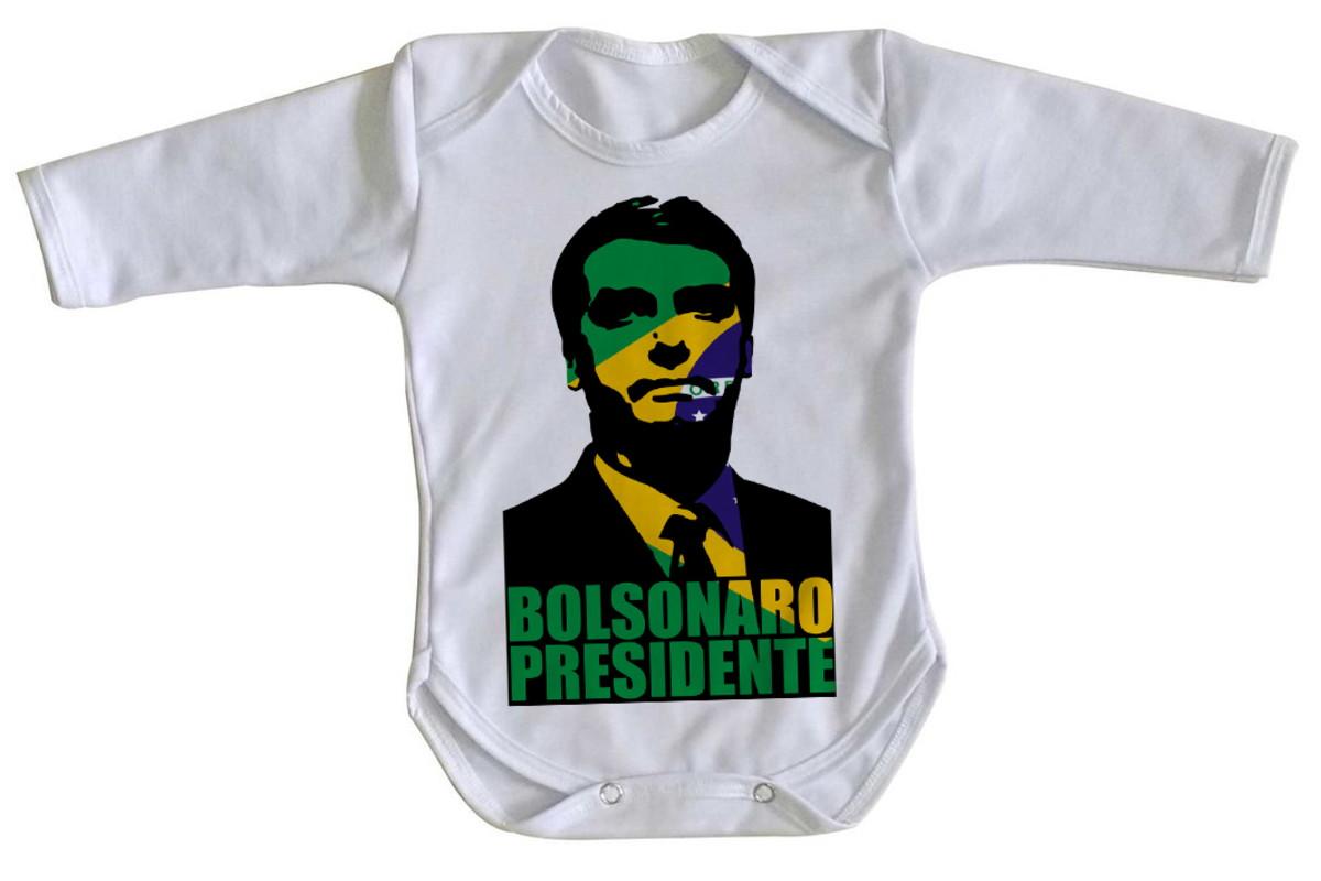 1423a3c70cd1c Body bebê roupa nenê Bolsonaro Presidente cor Brasil verde no Elo7 ...