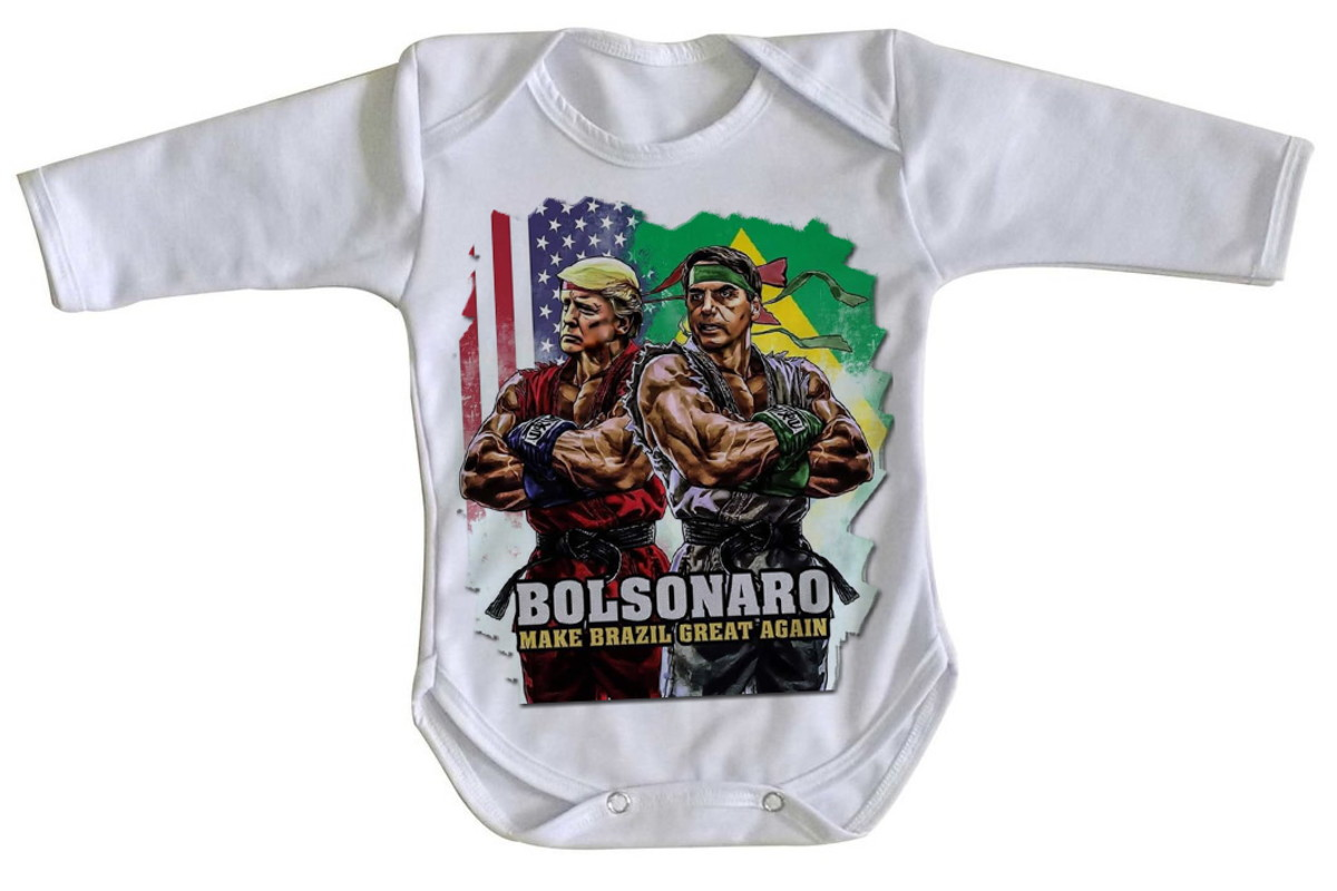 906bb7fec6 Body bebê roupa nenê Bolsonaro Trump street fighters preside no Elo7 ...