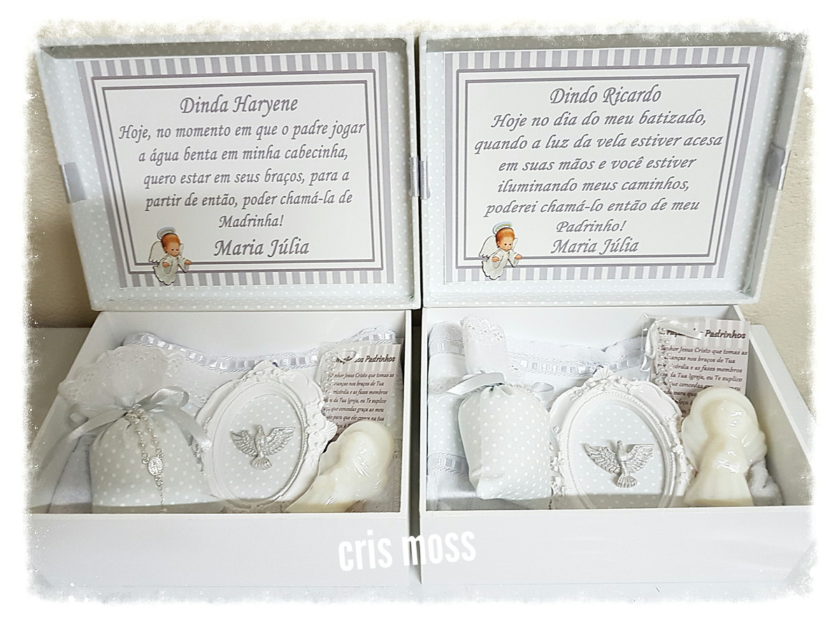 61d18c2ad 2 Caixas convite/lembrança padrinhos Batismo Branco e Prata no Elo7 ...