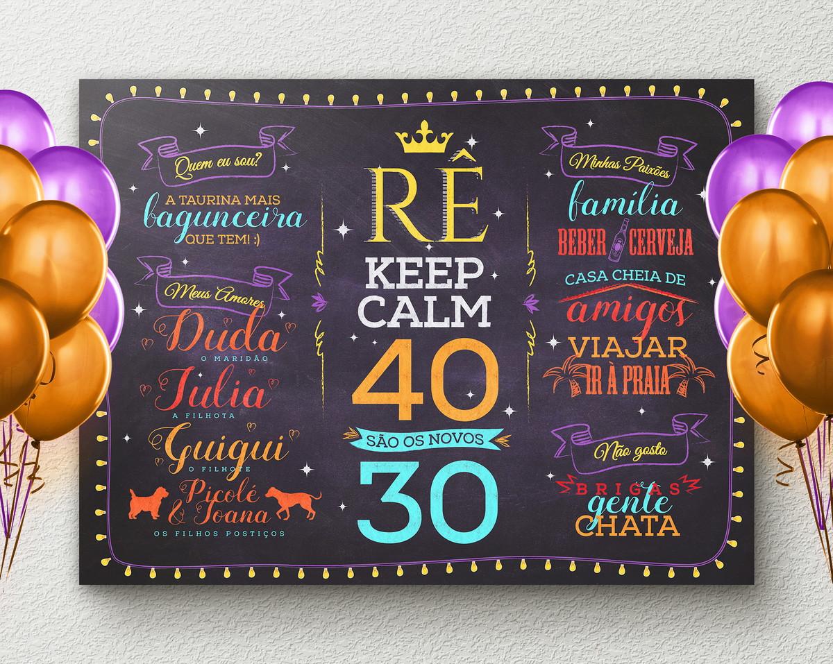 Chalkboard Aniversário Adulto Keep Calm