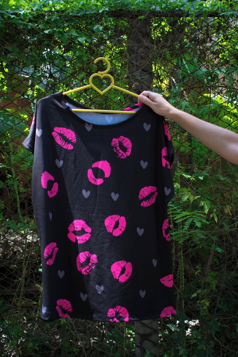 218419341e Tshirt Feminina Boca Beijos Rosa Plus Size GG XG no Elo7