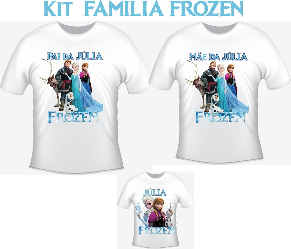 Camiseta Frozen Elsa Anna Kit  03 camisetas - Personalizada no Elo7 ... 9ae4ec8ab8484