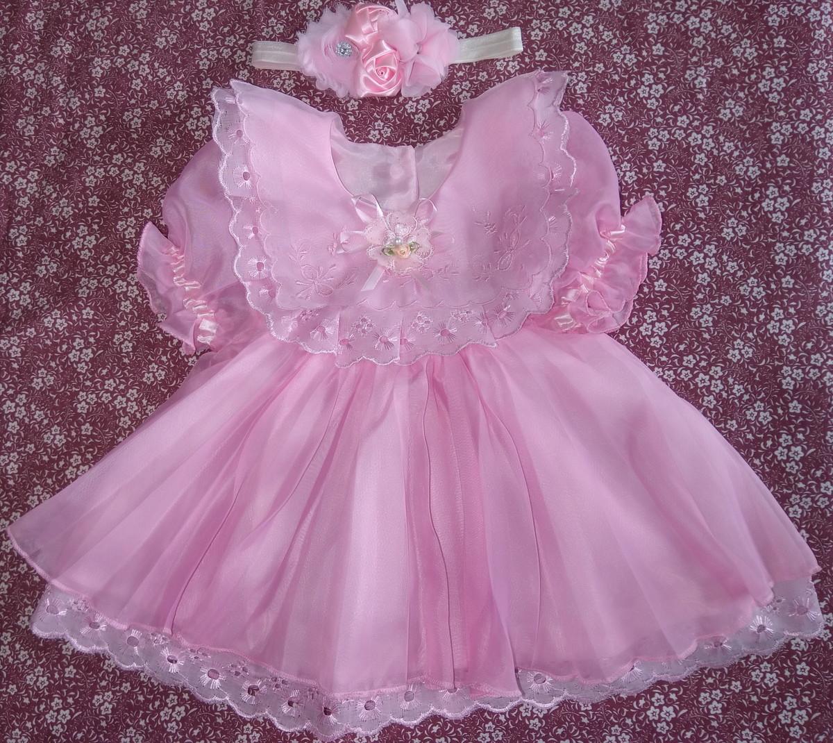 6e1f50026b Vestido chiffon rosa e faixa no Elo7
