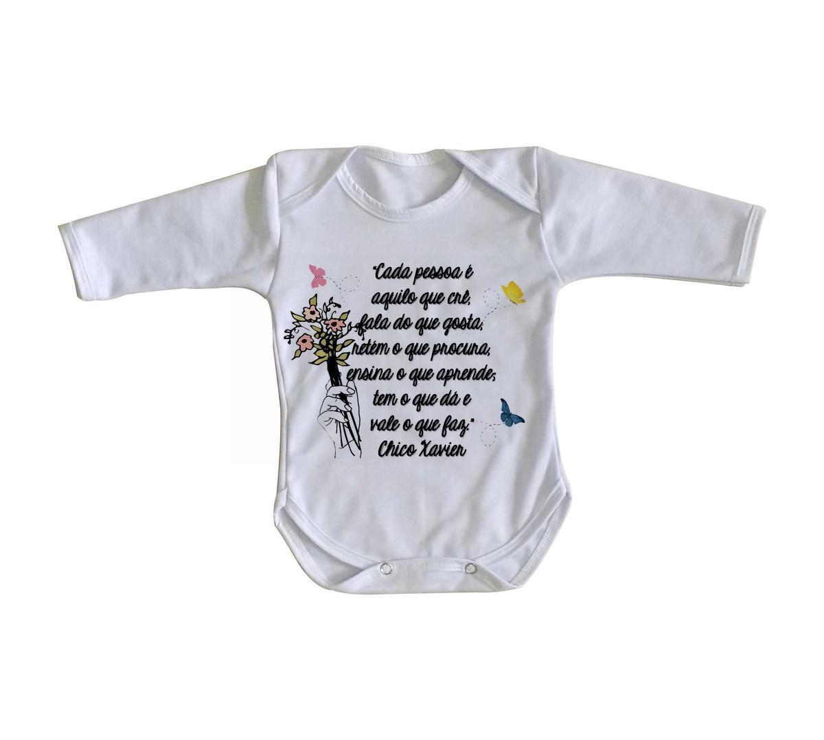 Body Bebê Roupa Nenê Frase Chico Xavier Espirita Cada Pessoa