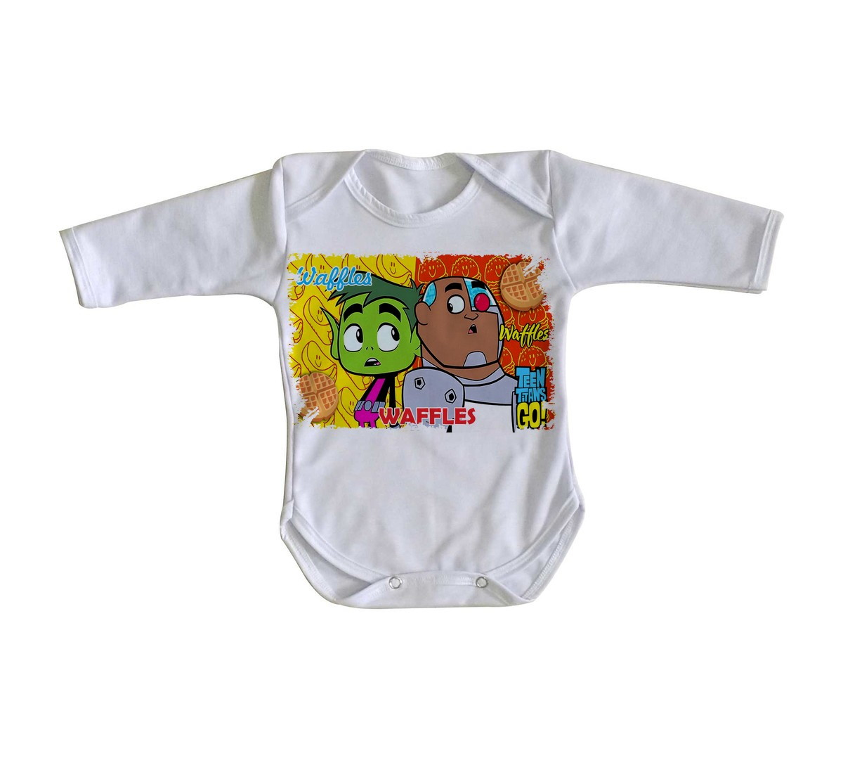 ba9942e056 Body bebê roupa nenê Jovens Titãs waffles titans go no Elo7 ...