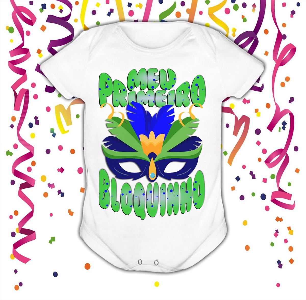 Body De Bebê Carnaval 2019 Frase Meu Primeiro Bloquinho Novo