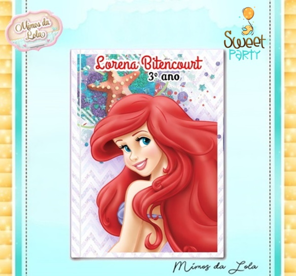 Caderno Escolar A Pequena Sereia Ariel No Elo7 Sweet Party