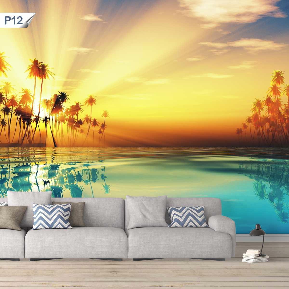 Papel De Parede Adesivo Por Do Sol Mar Paisagem Natureza P12 No