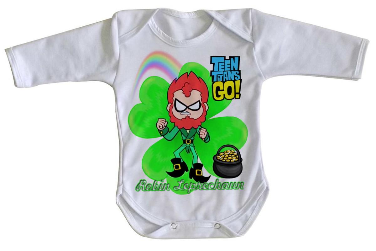 c2026e4c5a Body bebê roupa nenê Robin jovens titãs Leprechaun titan go no Elo7 ...