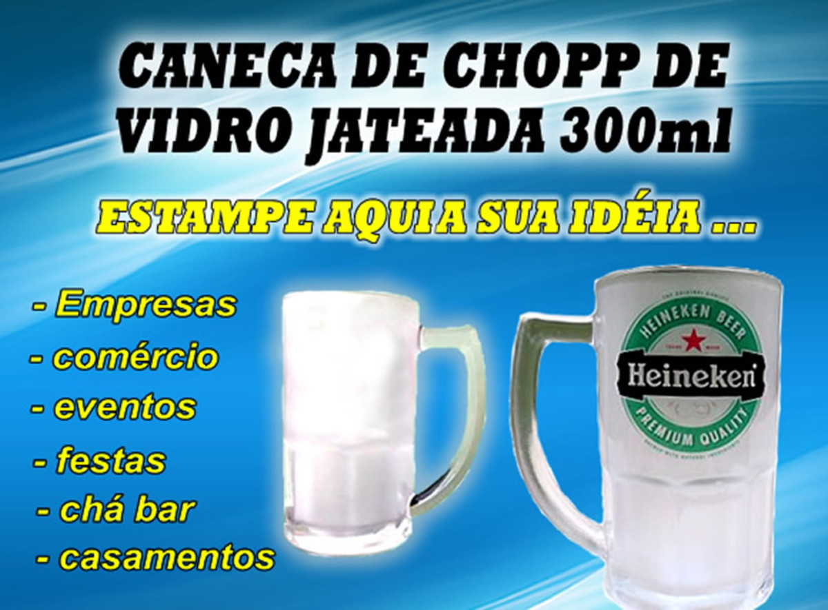 88f0f5325 Caneca de Chopp Vidro Jateada - 300ml no Elo7