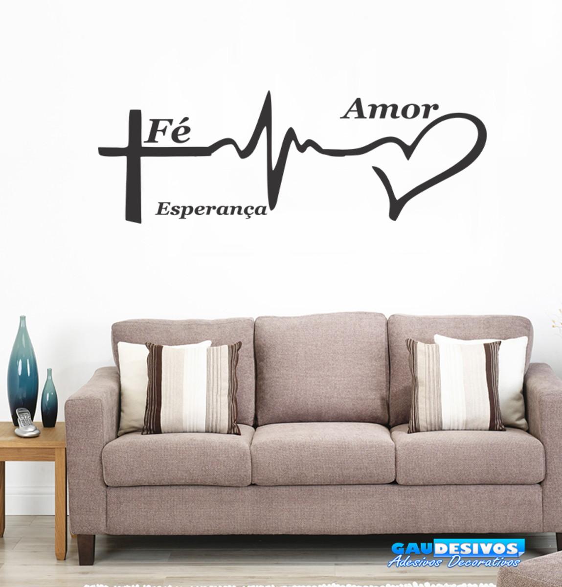 Adesivo Decorativo De Parede Frases Fé Amor E Esperança