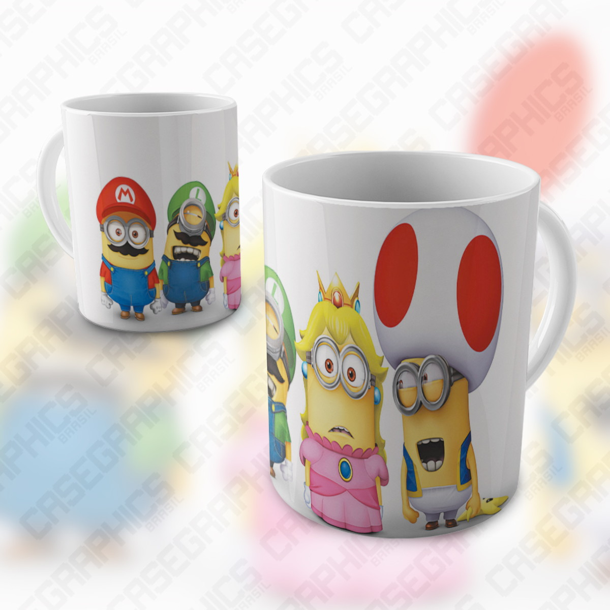 Caneca Super Mario Bros Minions Divertida Colorida Porcelana No