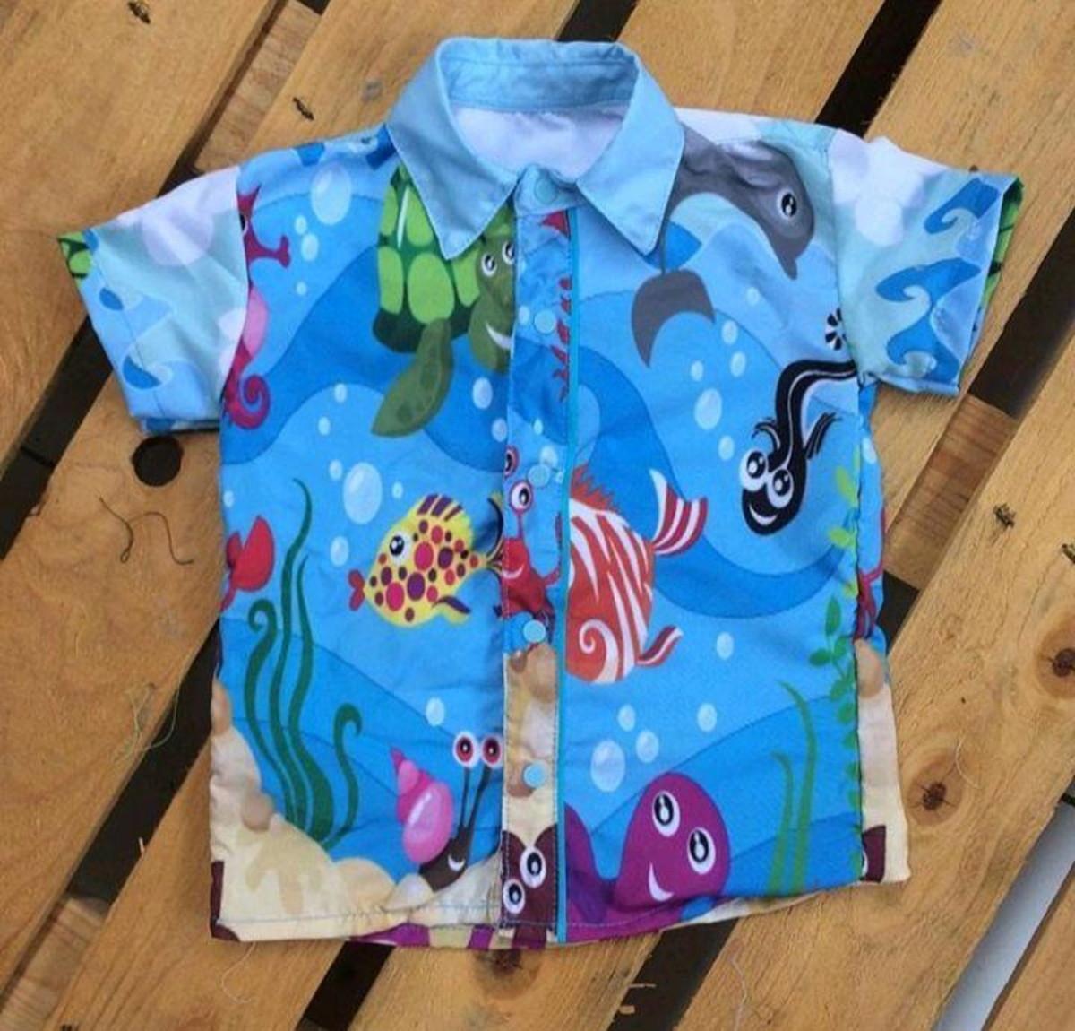 f05e0e4629 Camisa Social Temática Infantil Fundo do Mar 2 no Elo7
