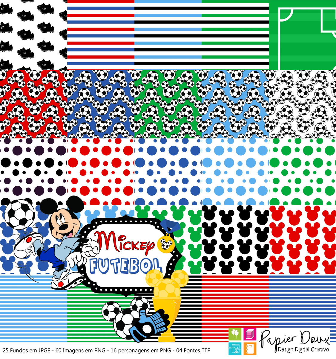 Kit Digital Futebol Mickey no Elo7  41b3c33fb4c17