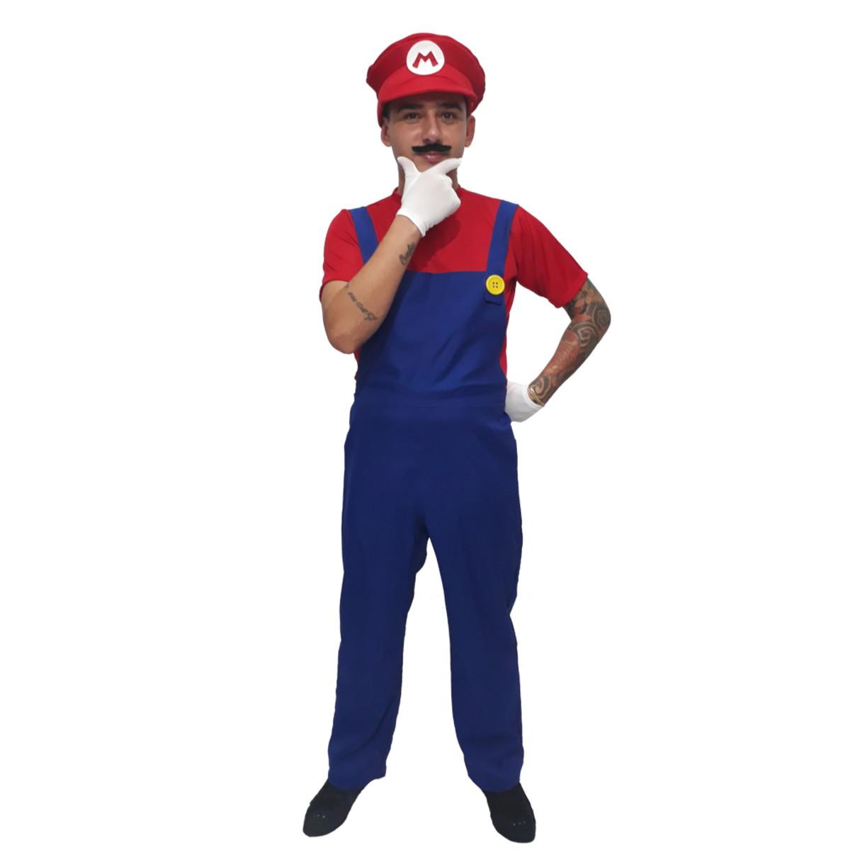 a411e60a902b7 Fantasia Super Mario Masculino Carnaval Game Geek no Elo7 ...
