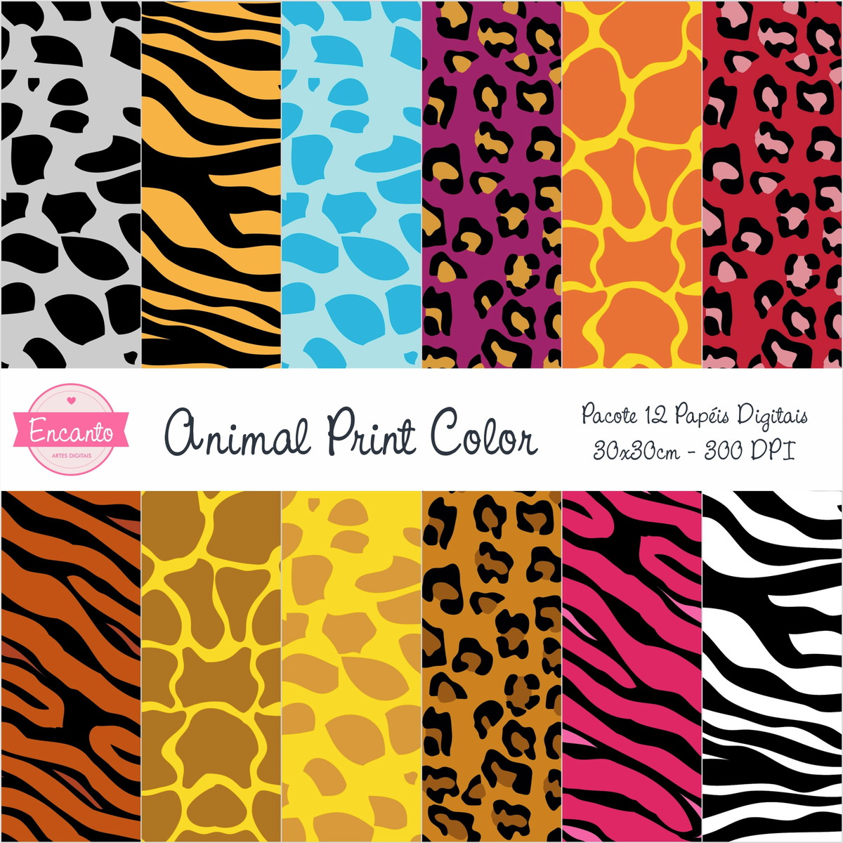 Kit Papel Digital - Animal Print Color no Elo7 | Encanto Artes ...
