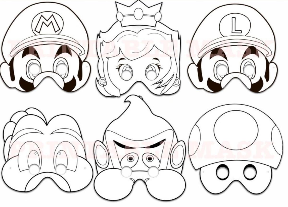 Máscaras De Colorir Super Mario Bros No Elo7
