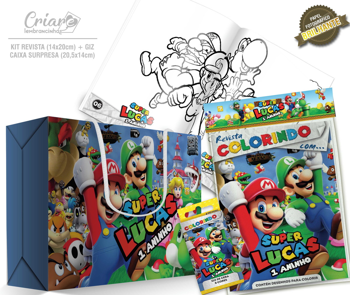 Caixa Surpresa Kit De Colorir Super Mario Bros No Elo7