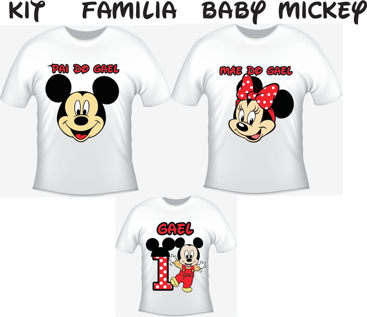 Camiseta Baby Mickey Kit  03 camisetas - Personalizada no Elo7 ... 97d84122b78f8