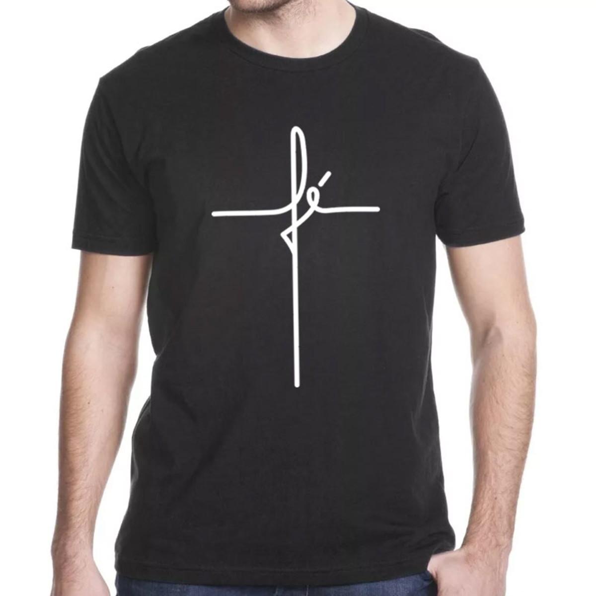 097caf324 Camiseta Católica Fé Cruz no Elo7