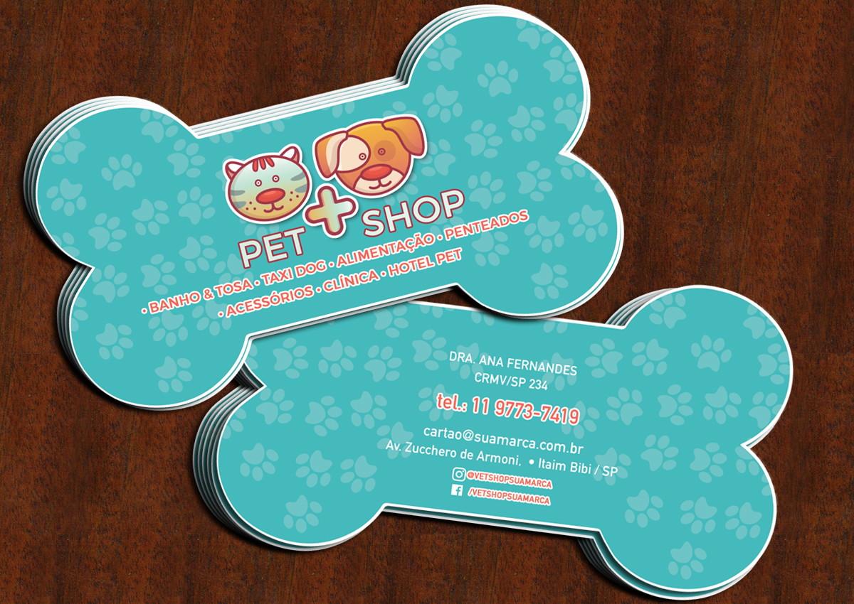 771406b3fe554 Zoom · Cartão Pet Shop - Formato De Osso