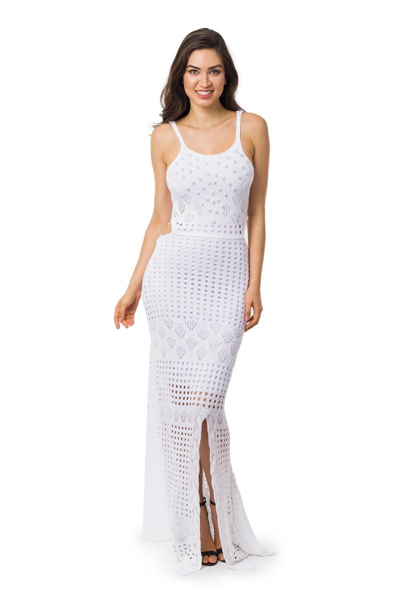 6f698f00cd Vestido Longo Pérolas Fenda Feminino Tricot Branco 05028 no Elo7 ...