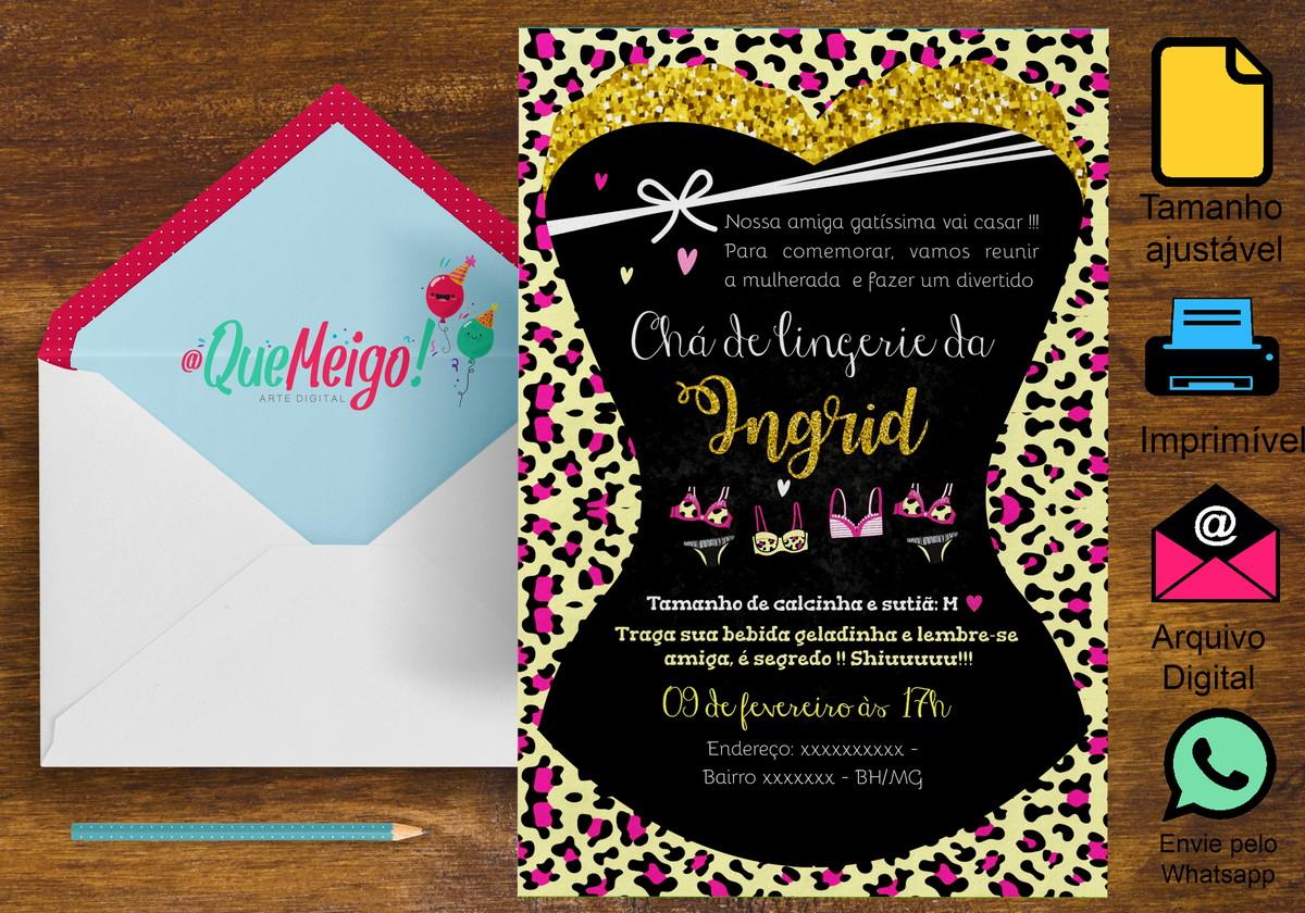 dae29535d75 Convite Chá de Lingerie Oncinha no Elo7