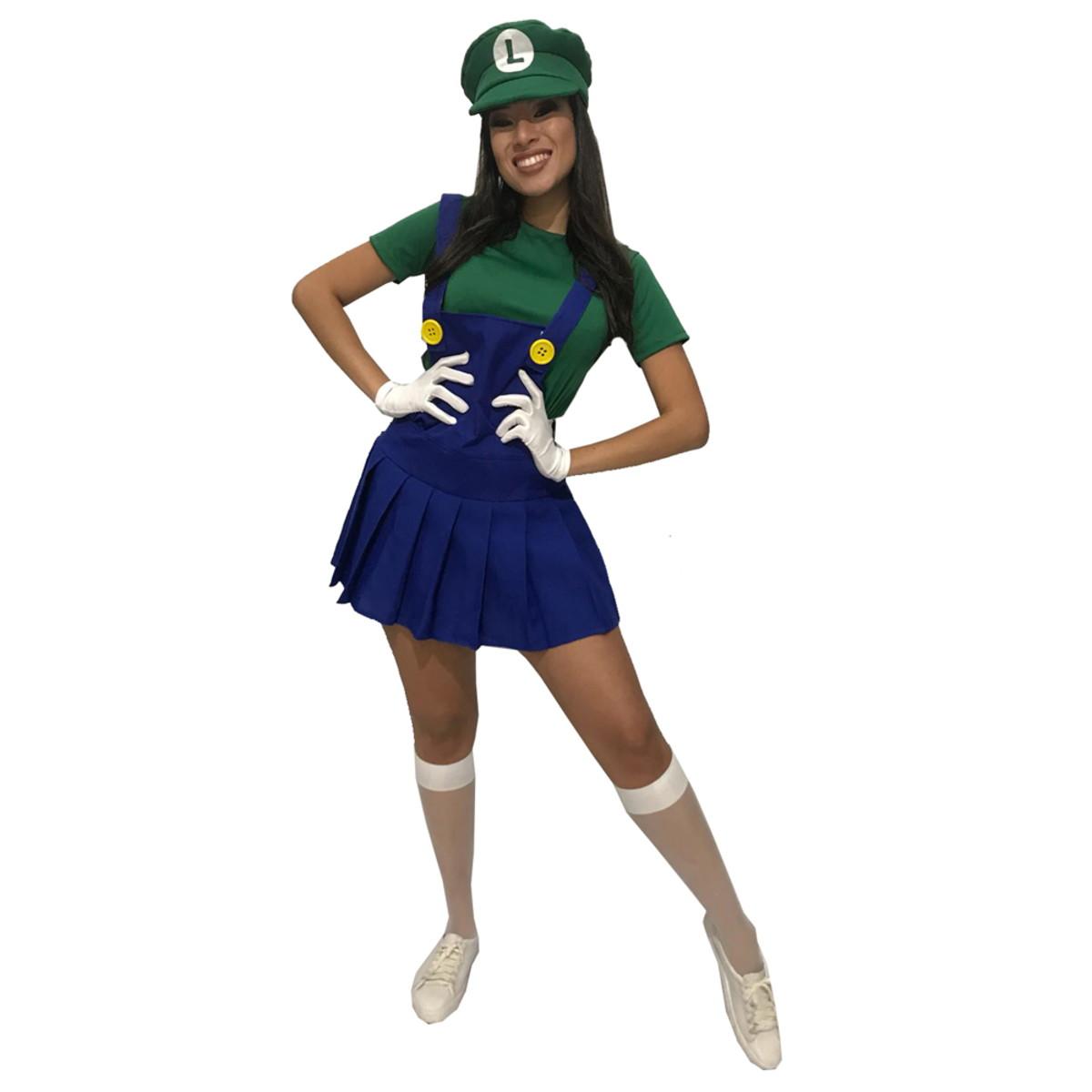 dc08b2674a4040 Fantasia Luigi Adulto Feminina Carnaval Game Super Mario